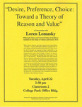 Desire, Preference, Choice: Toward a Theory of Reason and Value by Loren Lomasky