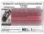 The Anxious Ear: Aural Experience in German Modernity by Bowling Green State University. Institute for the Study of Culture & Society
