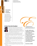 ProMusica Newsletter, Summer 2008 by BGSU College of Musical Arts