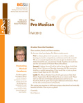ProMusica Newsletter, Fall 2012 by BGSU College of Musical Arts