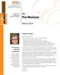 ProMusica Newsletter, Winter 2014 by BGSU College of Musical Arts